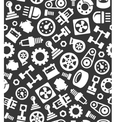 Auto Car Spare Parts Seamless Pattern on Dark vector