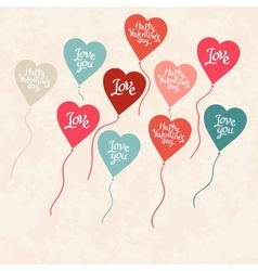 Background with balloons in the shape of heart vector