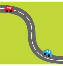 Background with road and cartoon cars vector