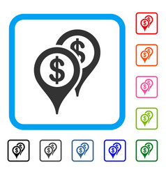 Bank map markers framed icon vector