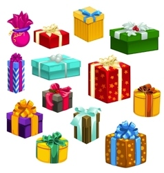 big set gift boxes different colors and shapes vector image