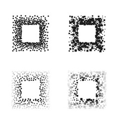 Black color square frames isolated on white vector