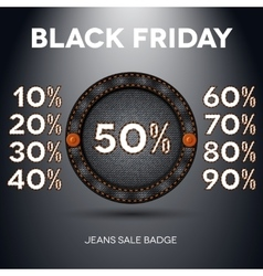 Black friday sale label with percents vector