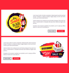 black friday sale off promo stickers advertising vector image