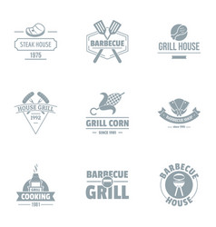 brazier logo set simple style vector image