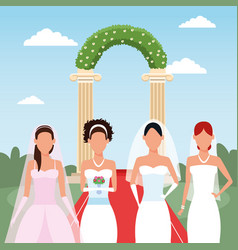 Brides standing over wedding floral arch and vector