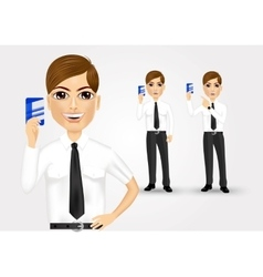 businessman holding business card vector image