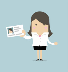 Businesswoman holding id card in flat style vector