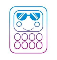 Calculator math kawaii character cartoon vector