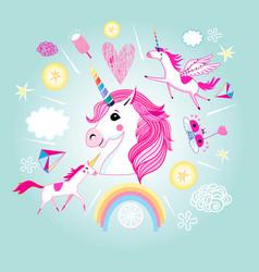 cartoon set unicorns and fabulous objects vector image
