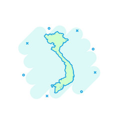 cartoon vietnam map icon in comic style vietnam vector image