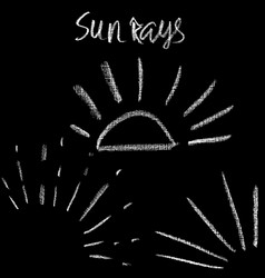 Chalk sunburst set grunge sunrays collection vector