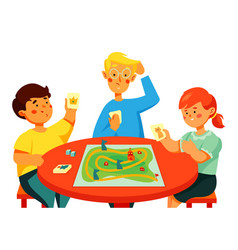children playing a board game - colorful flat vector image
