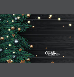 Christmas composition on wooden background vector