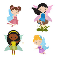 Collection of beautiful fairies collection of vector