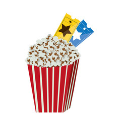 Color background with popcorn container with movie vector