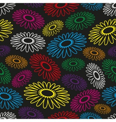Colorful simple abstract flower seamless black vector