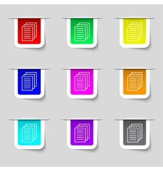 Copy file sign icon Duplicate document symbol Set vector