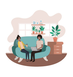 couple using laptop in livingroom vector image