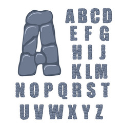 cracked stone alphabet on a white vector image