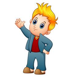 Cute blonde boy waving hand vector