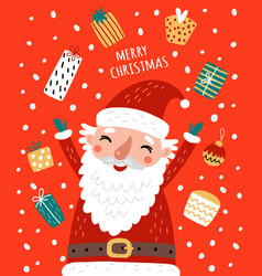 cute card with santa and christmas gifts vector image