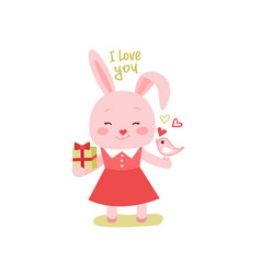 Cute cartoon lovely rabbit with pink large heart vector