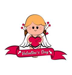 cute cupid boy with a heart shape vector image