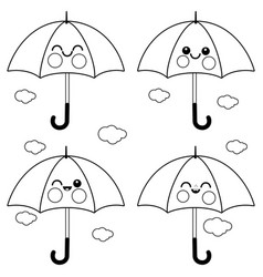 Cute umbrella characters vector