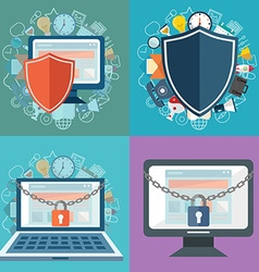 Data protection and safe work Flat design vector