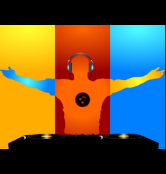 dj coloured silhouette and record decks vector image