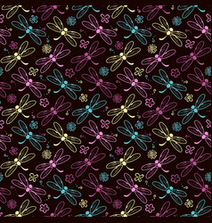 Dragonfly pattern background vector