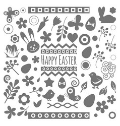 easter eggs floral decor elements vector image