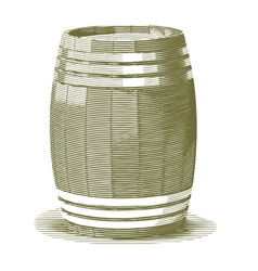 Engraved Wooden Barrel vector image
