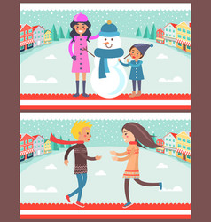 family and snowman posters vector image