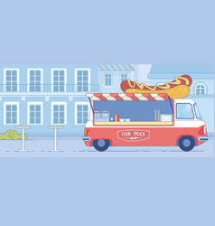 fast food truck parked on city street landscape vector image