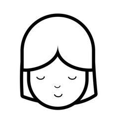 Figure beauty face girl with close eyes vector