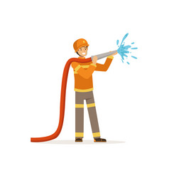 fireman character spraying water using hose vector image