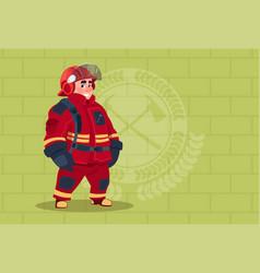 Fireman wearing uniform and helmet adult fire vector