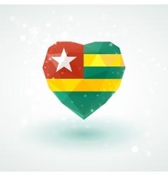 Flag of Togo in shape diamond glass heart vector image