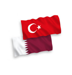 Flags turkey and qatar on a white background vector