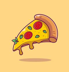Flying slice of pizza cartoon vector