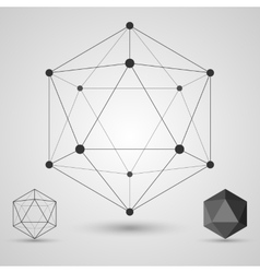 Frame volumetric geometric shapes with edges and vector image