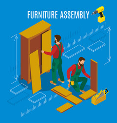 Furniture assembly isometric vector
