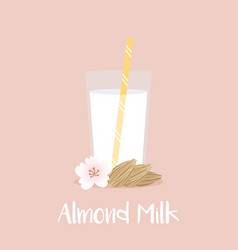 Glass of almond milk with straw almond seeds vector