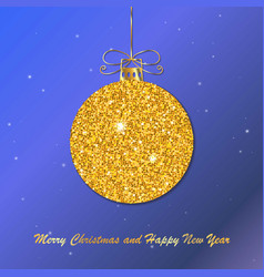 Gold christmas ball with line bow holiday christm vector