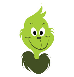 Green grinch on white background vector