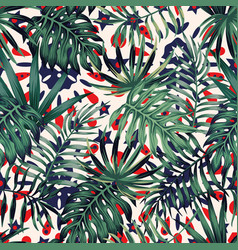 Green tropical leaves seamless abstract background vector