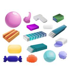 Gum icon set cartoon style vector