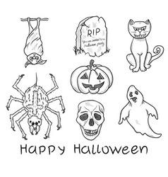 Halloween design elements vector image